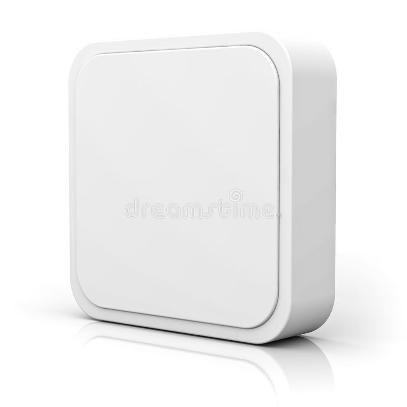 Botón en blanco del cuadrado 3d sobre el fondo blanco stock de ilustración