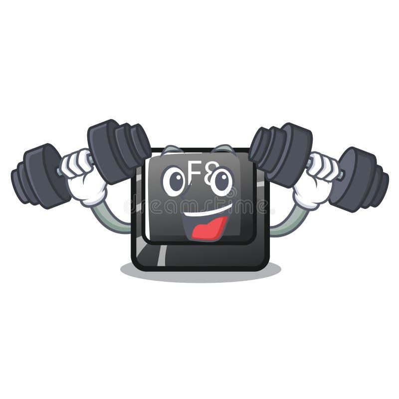 Bot?n f8 de la aptitud en el car?cter de la forma stock de ilustración
