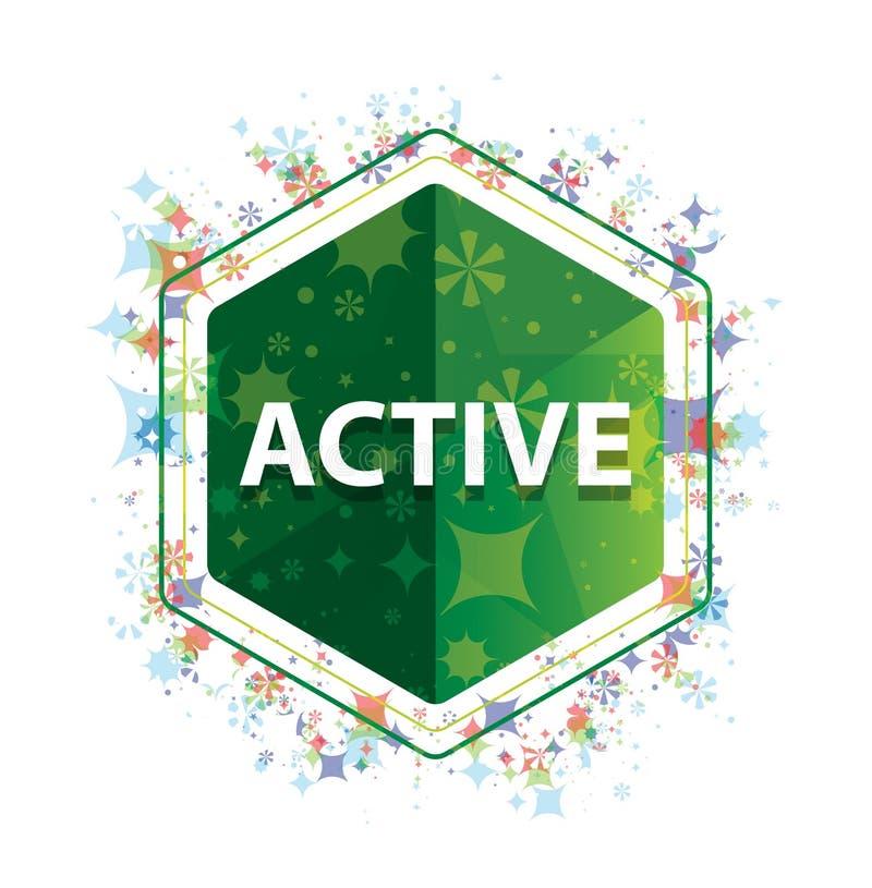 Botón floral activo del hexágono del verde del modelo de las plantas stock de ilustración