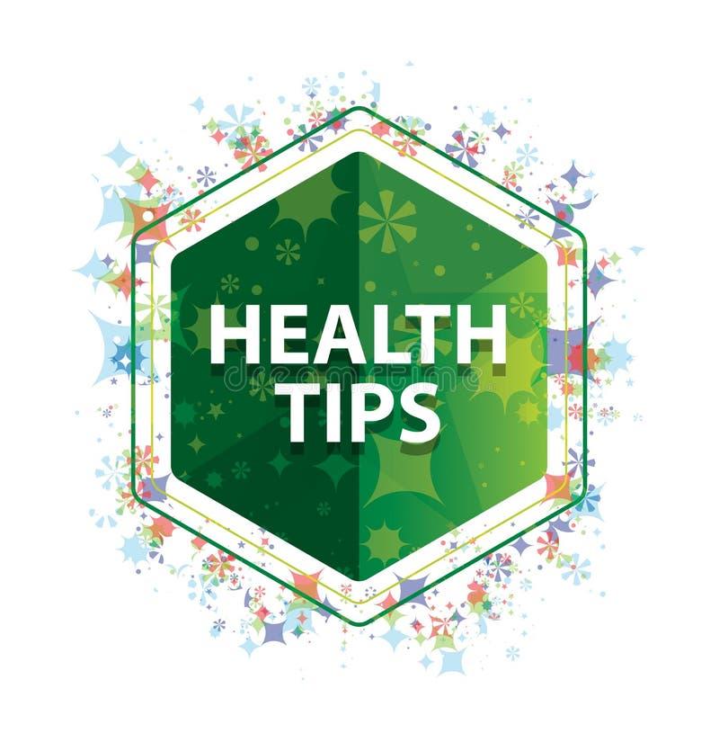 Botón floral del hexágono del verde del modelo de las plantas de las extremidades de la salud ilustración del vector