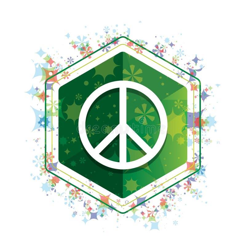 Botón floral del hexágono del verde del modelo de las plantas del icono del signo de la paz ilustración del vector