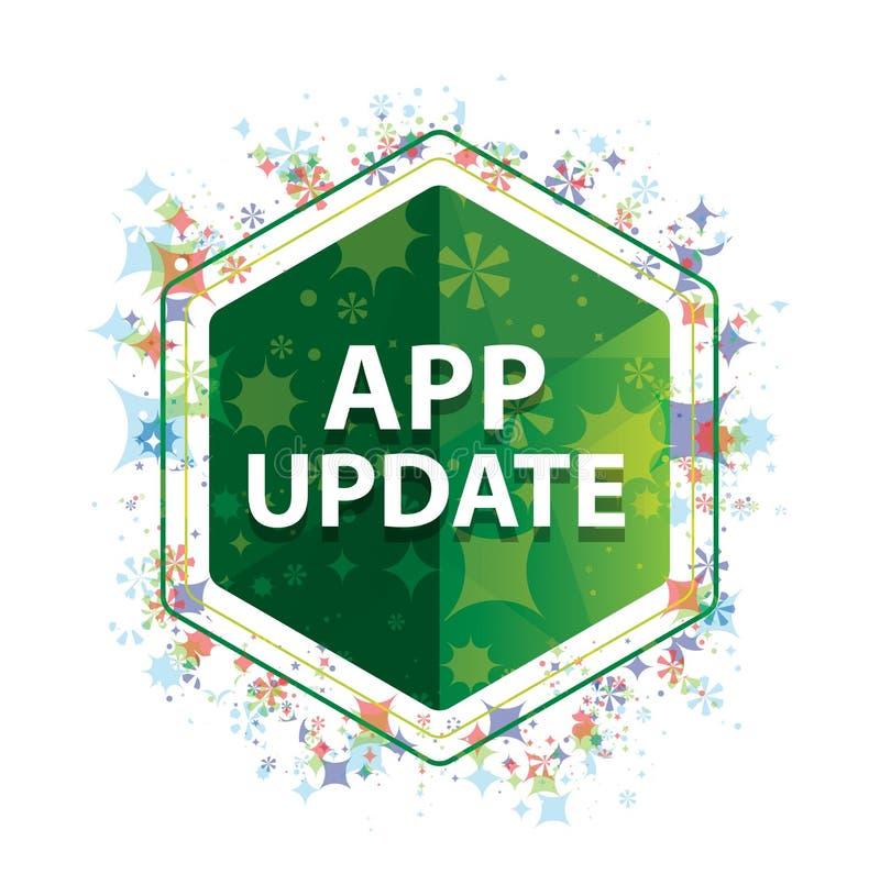 Botón floral del hexágono del verde del modelo de las plantas de la actualización del App fotografía de archivo