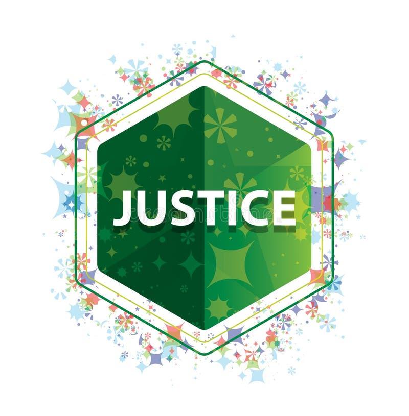 Botón floral del hexágono del verde del modelo de las plantas de la justicia stock de ilustración