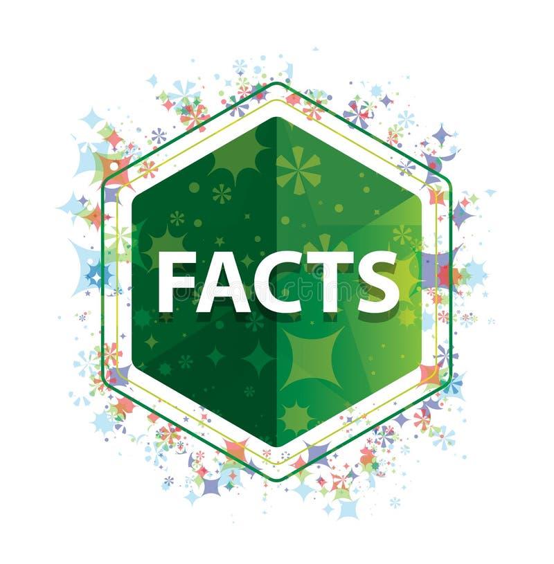 Botón floral del hexágono del verde del modelo de las plantas de los hechos ilustración del vector