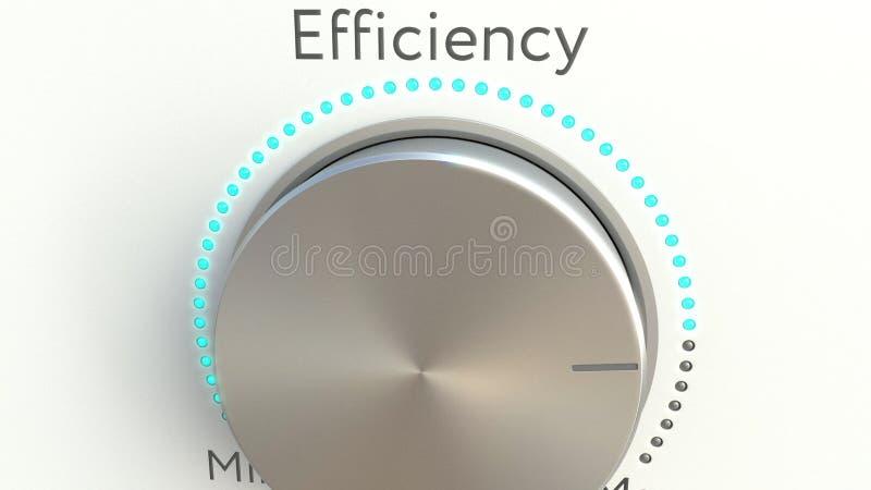 Botón giratorio con la inscripción de la eficacia Representación conceptual 3d imagen de archivo