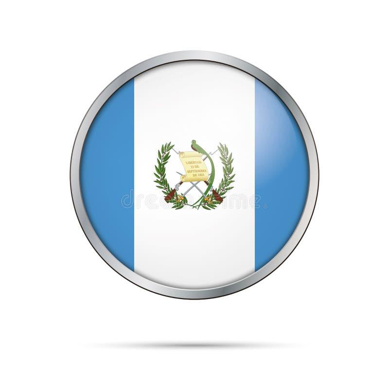 Botón guatemalteco de la bandera del vector Bandera de Guatemala en el botón de cristal stock de ilustración