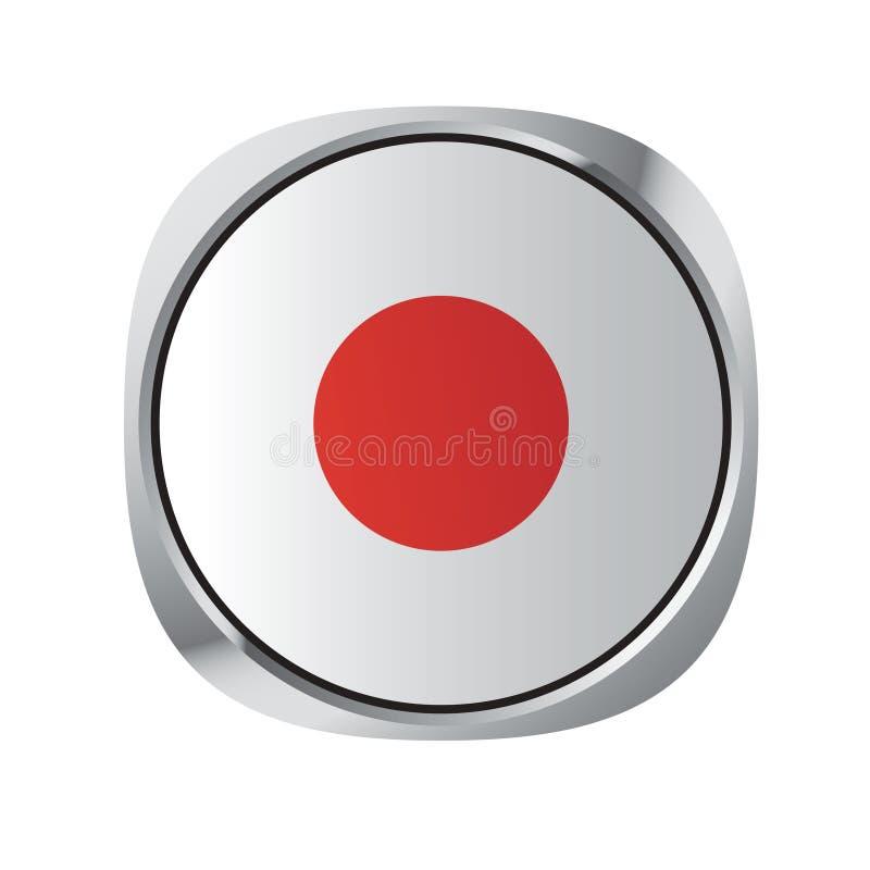 Botón japonés de la bandera nacional aislado en blanco stock de ilustración