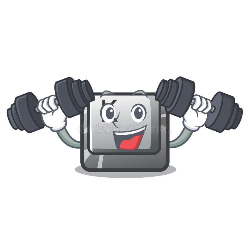 Botón K de la aptitud aislado con la mascota ilustración del vector