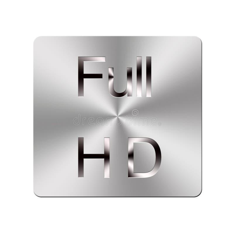 Botón lleno del metal HD. ilustración del vector