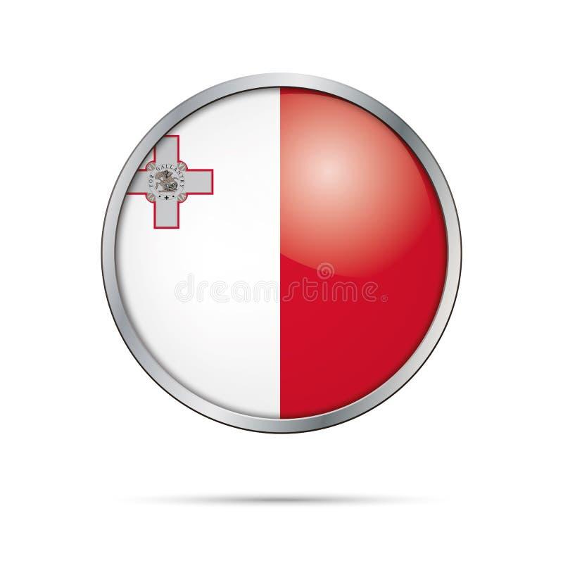 Botón maltés de la bandera del vector Bandera de Malta en el estilo de cristal del botón ilustración del vector