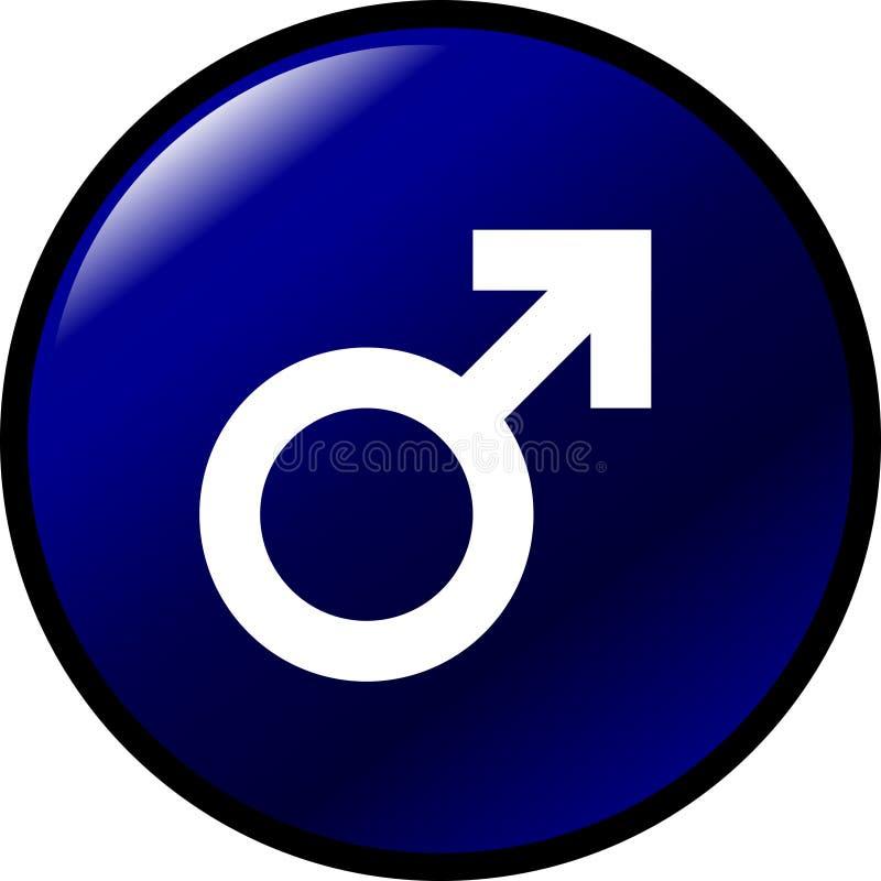 Botón masculino del símbolo del género stock de ilustración