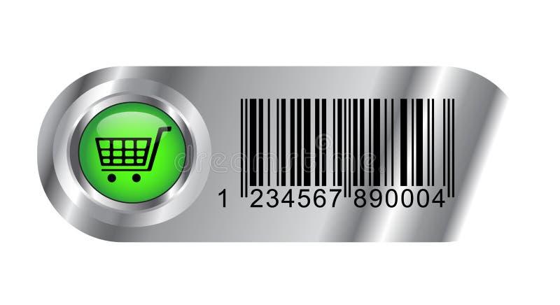 Botón metálico de la compra con clave y el carro de barras stock de ilustración