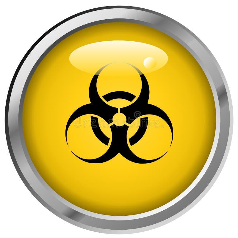Botón metálico del peligro ilustración del vector