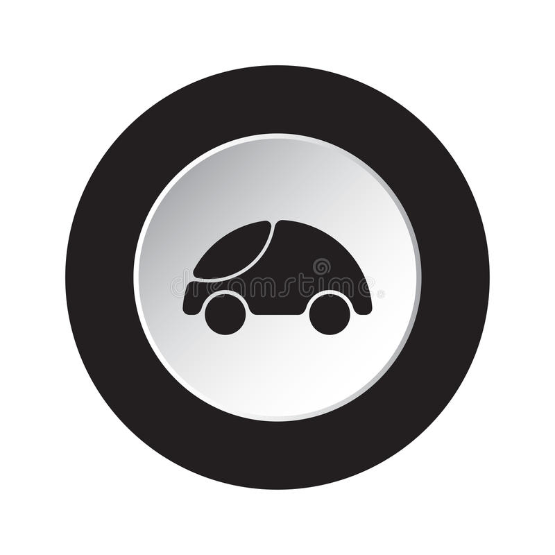Botón negro, blanco redondo - icono redondeado lindo del coche libre illustration