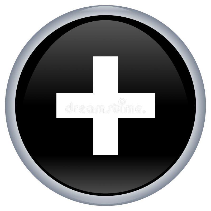 Download Botón Negro Del Aqua Con La Cruz Blanca Stock de ilustración - Ilustración de ayuda, negro: 7275742