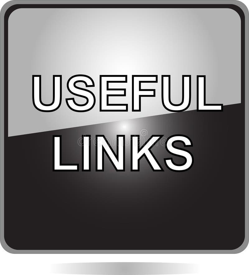 Botón negro del Web de las conexiones útiles stock de ilustración