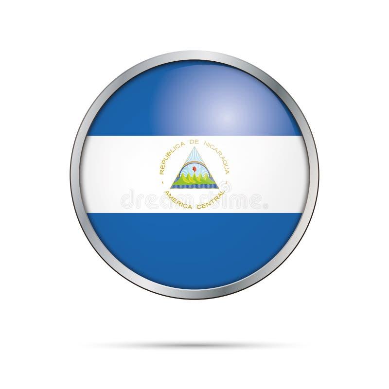 Botón nicaragüense de la bandera del vector Bandera de Nicaragua en el st de cristal del botón stock de ilustración
