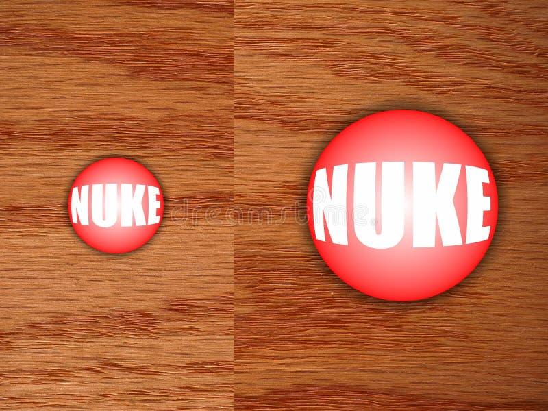 Botón nuclear en el escritorio fotos de archivo