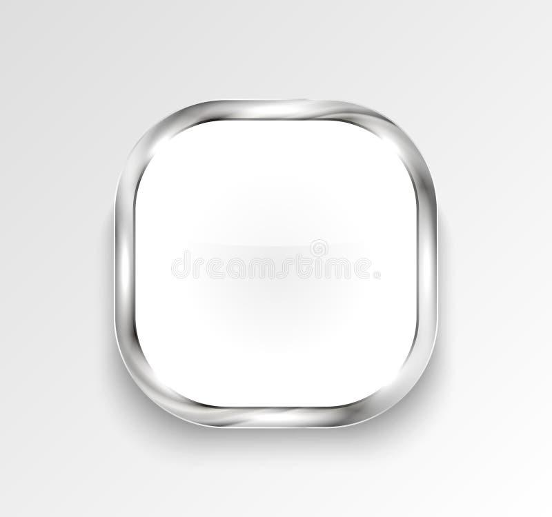 Botón o bandera brillante blanco Ilustración del vector libre illustration
