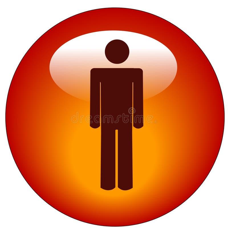 Botón o icono del Web del hombre del palillo ilustración del vector
