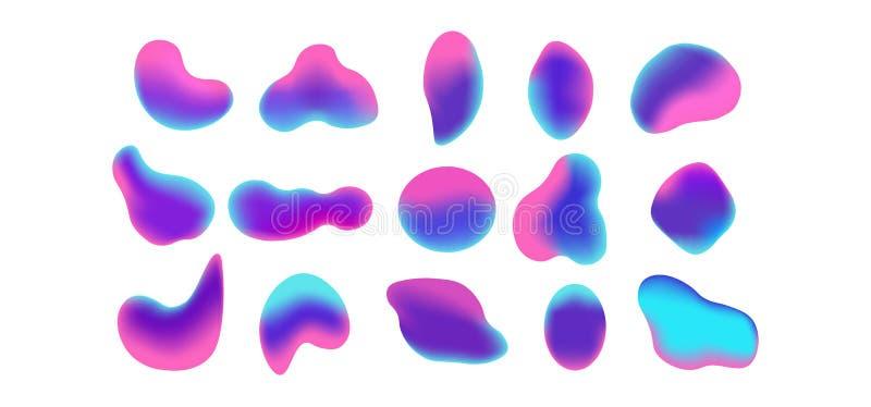 Botón olográfico redondeado de la pendiente Pendientes flúidas ciánicas del círculo del rosa amarillo-naranja púrpura multicolor, stock de ilustración