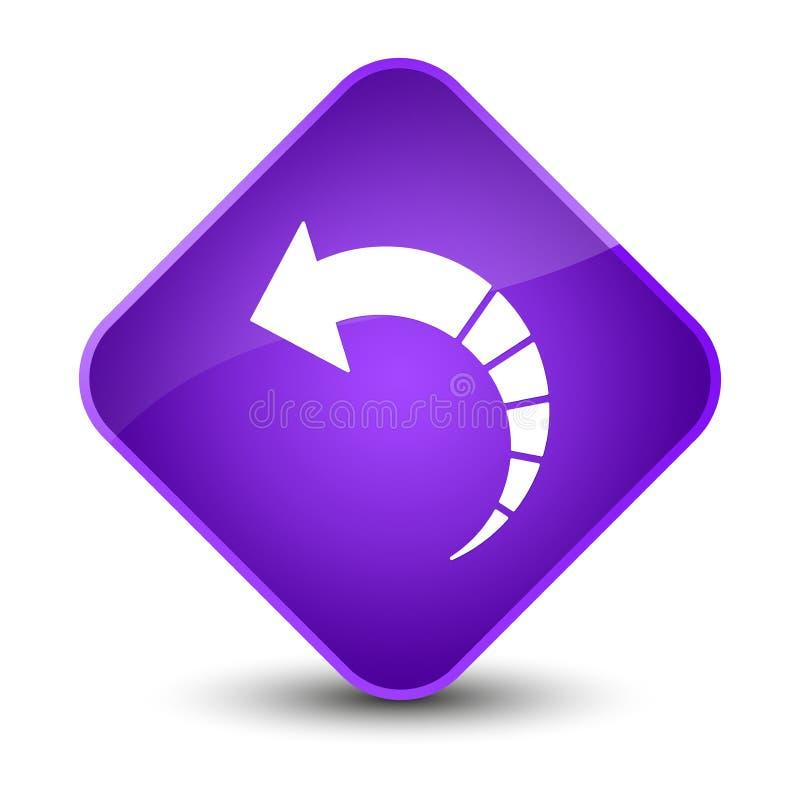 Botón púrpura elegante del diamante del icono trasero de la flecha foto de archivo