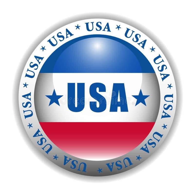 Botón patriótico de los E.E.U.U. ilustración del vector
