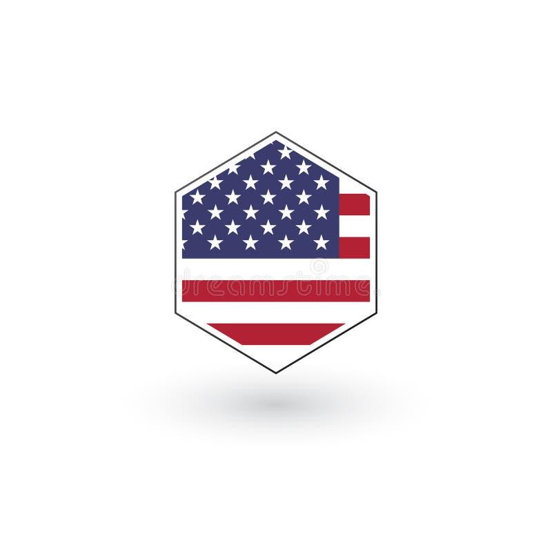 Botón plano del icono del hexágono de la bandera de los E.E.U.U., ejemplo del vector aislado en el fondo blanco stock de ilustración