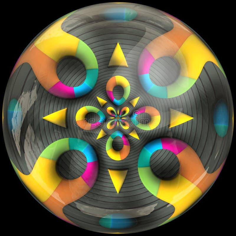 Botón pulido brillante con fractal sumergido stock de ilustración