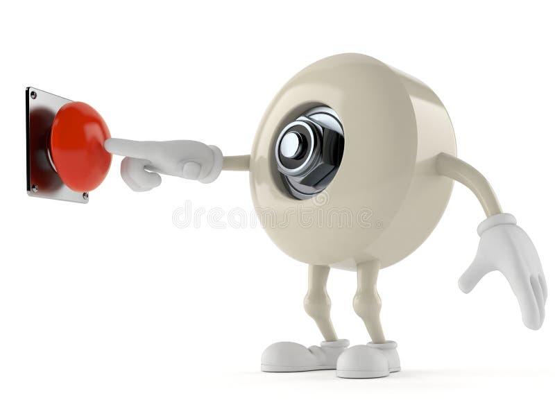 Botón que empuja del carácter de la rueda del monopatín en el fondo blanco ilustración del vector