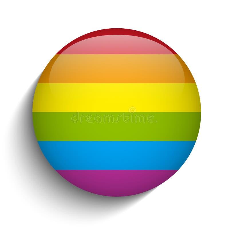 Botón rayado del círculo gay de la bandera stock de ilustración