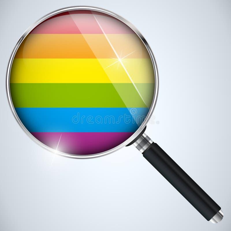 Botón rayado del círculo gay de la bandera ilustración del vector