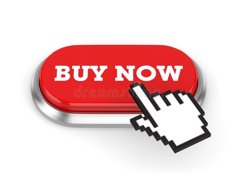 Botón Red Buy Now Con Borde Metálico En Fondo Blanco ilustración del vector