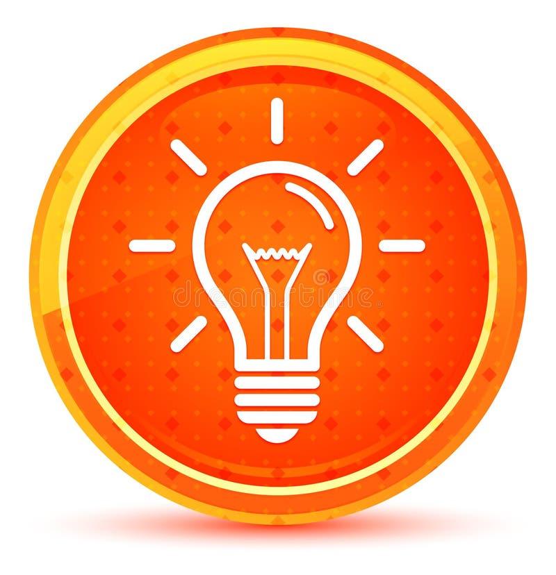 Botón redondo anaranjado natural del icono de la bombilla ilustración del vector