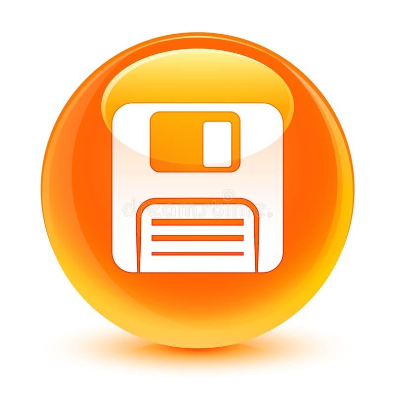 Botón redondo anaranjado vidrioso del icono del disco blando ilustración del vector