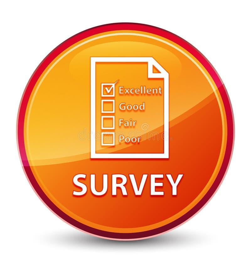 Botón redondo anaranjado vidrioso especial de la encuesta (icono del cuestionario) ilustración del vector