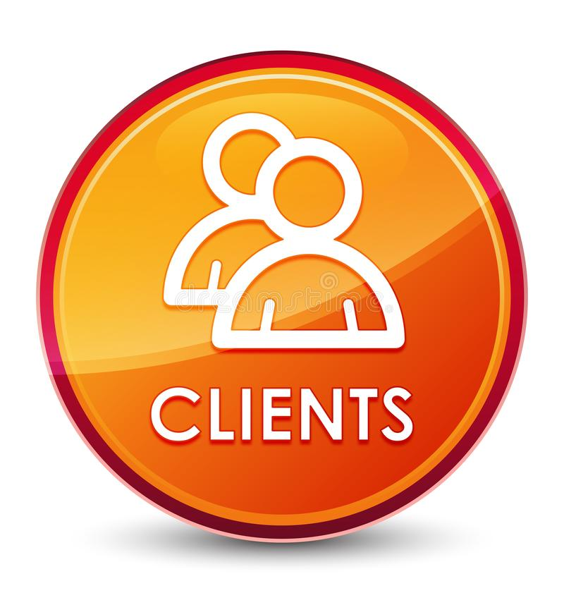 Botón redondo anaranjado vidrioso especial de los clientes (icono de grupo) libre illustration
