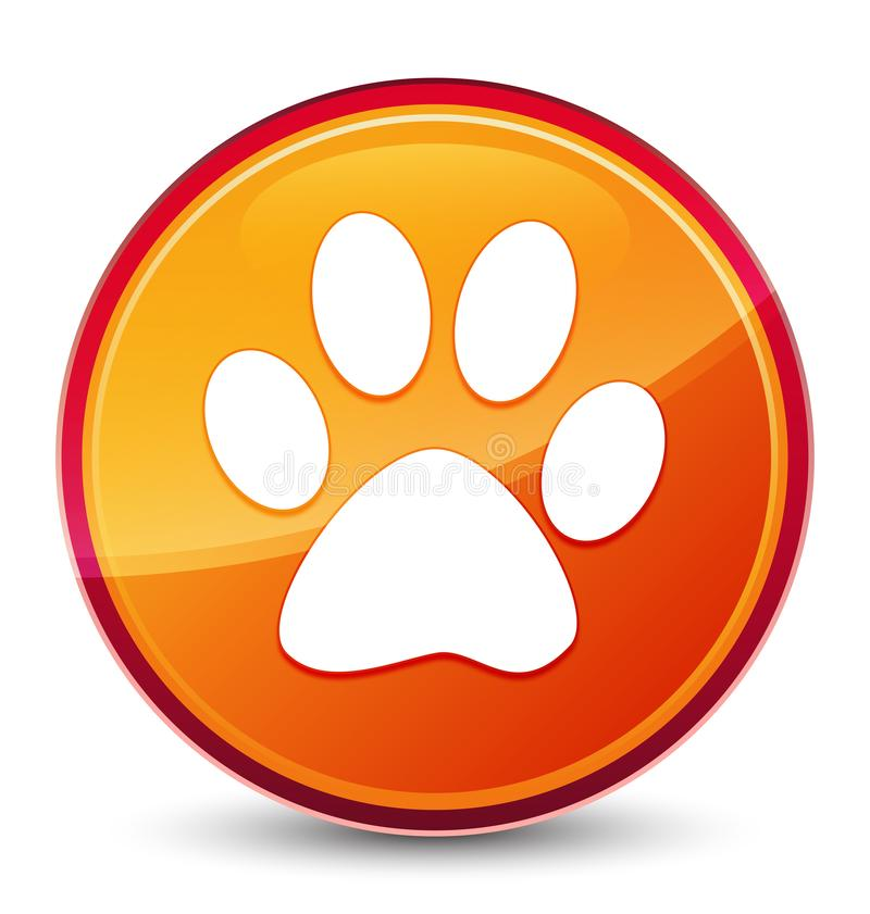 Botón redondo anaranjado vidrioso especial del icono animal de la huella stock de ilustración