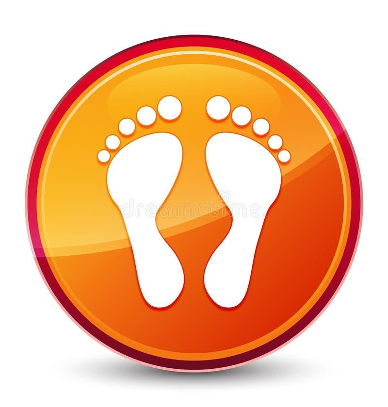 Botón redondo anaranjado vidrioso especial del icono de la huella stock de ilustración