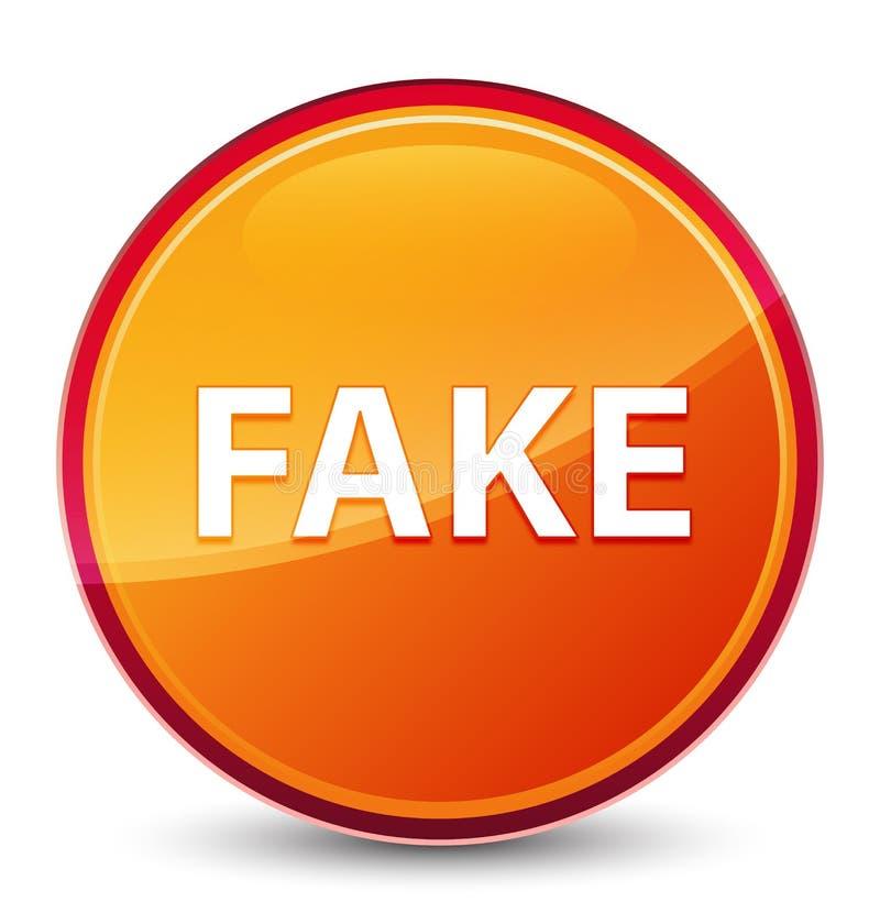 Botón redondo anaranjado vidrioso especial falso imagenes de archivo