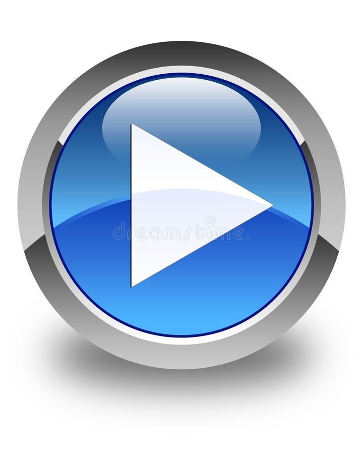 Botón redondo azul brillante del icono del juego stock de ilustración