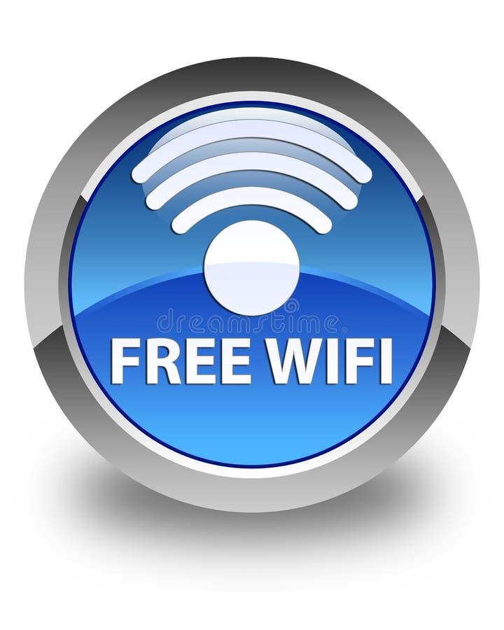Botón redondo azul brillante del wifi libre ilustración del vector