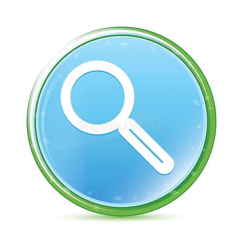 Botón redondo azul ciánico de la aguamarina natural del icono de la lupa ilustración del vector