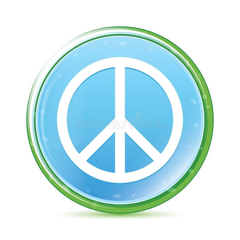 Botón redondo azul ciánico de la aguamarina natural del icono del signo de la paz ilustración del vector