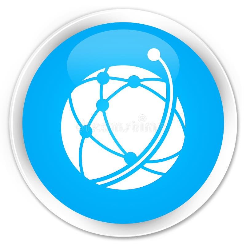 Botón redondo azul ciánico superior del icono de la red global libre illustration