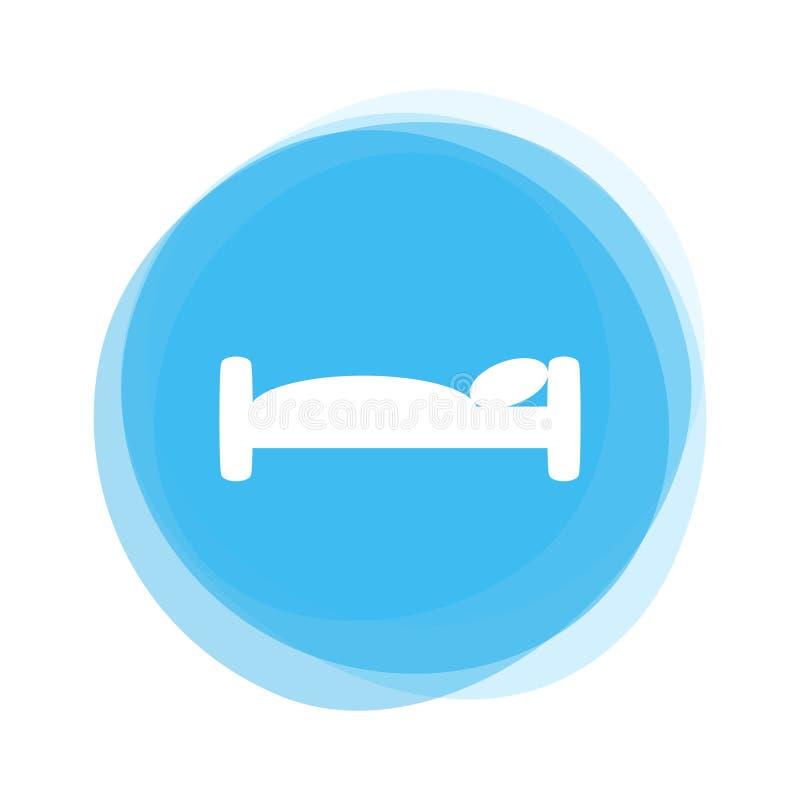 Botón redondo azul claro aislado: Icono de la cama o del hotel stock de ilustración