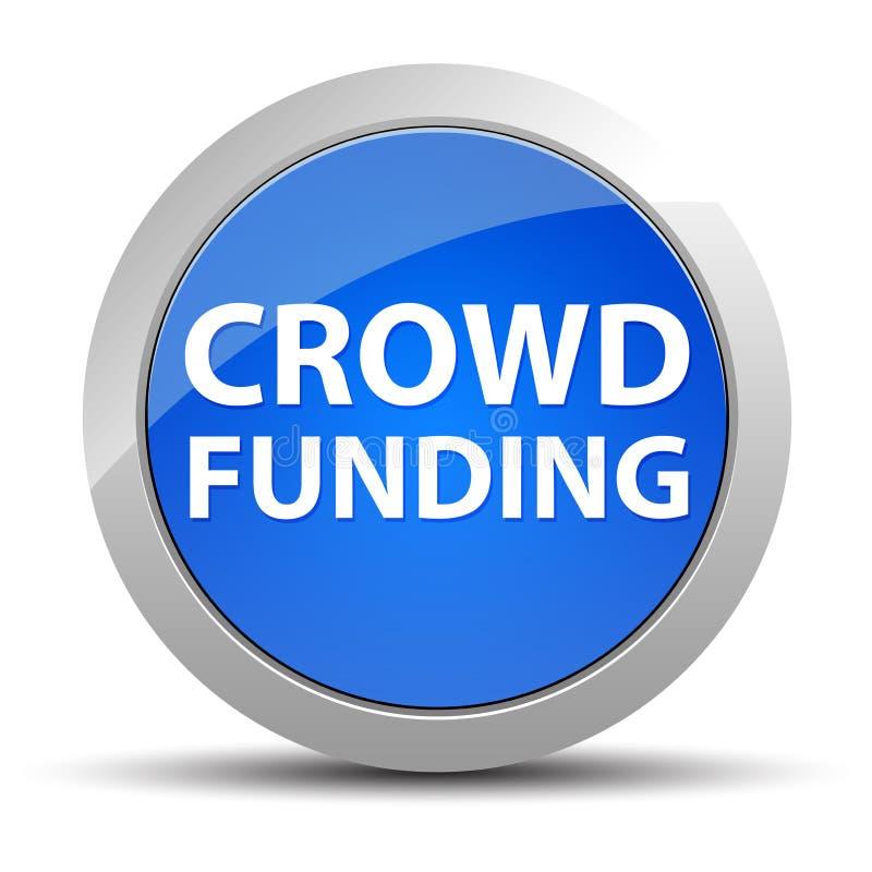 Botón redondo azul de la financiación de la muchedumbre foto de archivo