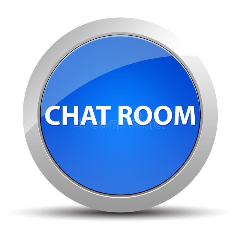 Botón redondo azul de la sala de chat stock de ilustración