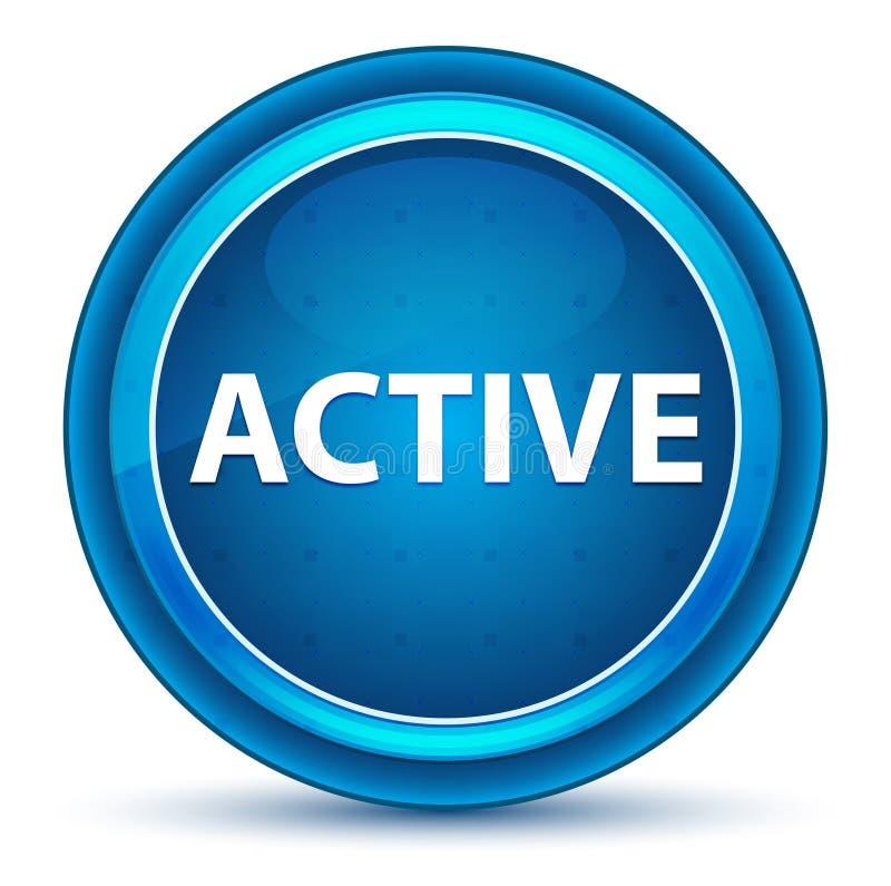 Botón redondo azul del globo del ojo activo stock de ilustración