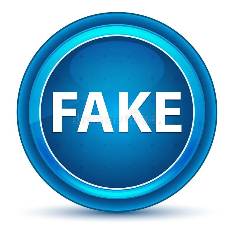 Botón redondo azul del globo del ojo falso stock de ilustración